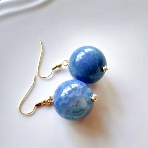 Aretes ágata azul