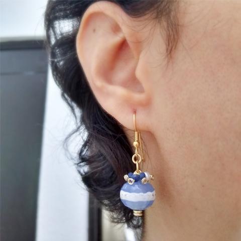 Aretes ágata azul y blanco