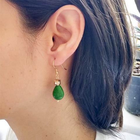 Aretes gotas howlita verde