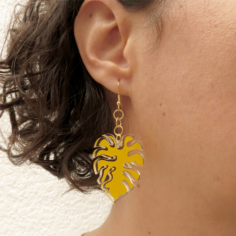Aretes hoja monstera